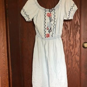 Off the shoulder embroidered chambray dress